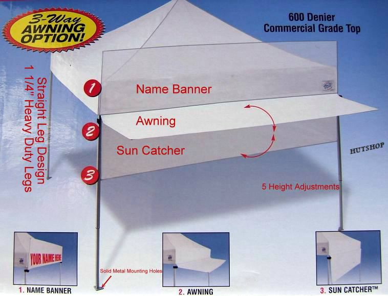 E-Z UP Encore II Instant Shelter 4 side Walls Canopy Tent with Awning & EZ-Up